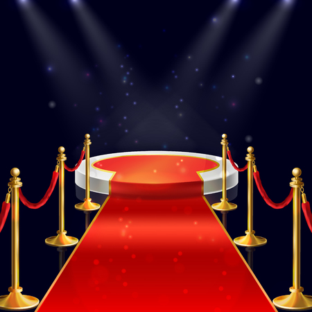 Vector realistic illustration of white round podium with velvet carpet, red ropes and golden stanchions illuminated by spotlights. Winner pedestal, luxury stage for award ceremony on night background Illustration