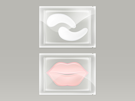 Vector realistic set of patches for lips and eyes, with hydrogel, in transparent disposable sachet isolated on background. Cosmetic product for skin care and treatment, mockup for packaging design