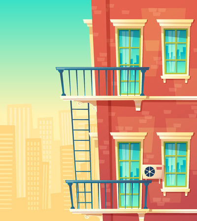 Vector cartoon illustration of house facade element, multistoried building, city apartments, outside view. Red brick wall of dwelling house with windows, balconies, ladder, and railing Illustration