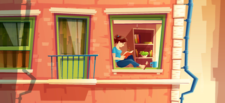 Vector illustration section of building facade with girl reading the book on the window of multi-storey apartment, building outside concept.
