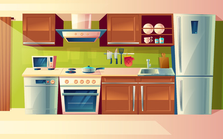 Cooking room interior, kitchen counter with appliances in cartoon illustration.