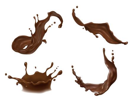 Vector l'illustrazione della spruzzata della cioccolata calda, del cacao o del caffè con le gocce, le chiazze, le macchie isolate su fondo bianco. Archivio Fotografico - 96621606