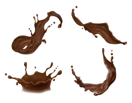 Vector illustration of hot chocolate, cacao or coffee splash with drops, blobs, blots isolated on white background.