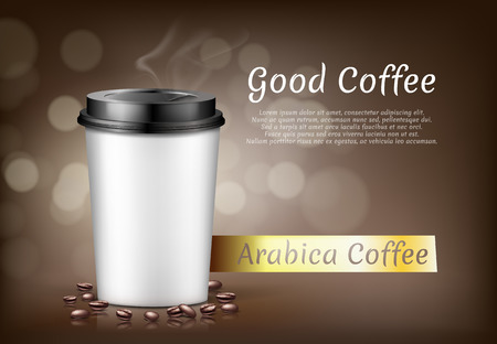 Vector realistic banner with cup of arabica coffee to go and beans, cardboard container for hot drinks to takeaway. Plastic mug with lid on brown background, mockup for brand promotion, package design