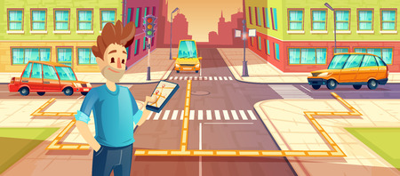 Vector illustration of car sharing, man with mobile phone with carpooling app, automobile, vehicle rent concept for travel, trip in the city. Smartphone with modern technology of carsharing.