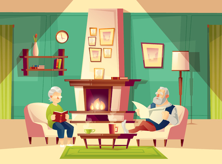 Cartoon vector background with old man and woman, who sit in armchairs near fireplace, rest, read book and newspaper. Modern interior of living room with furniture. Family life concept illustration.