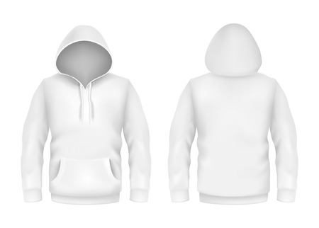 Vector hoodie sweatshirt white 3d realistic mockup template on white background. Fashion long sleeve, clothing hooded pullover front, back view. Unisex, women, men cotton apparel sportswear, outfit