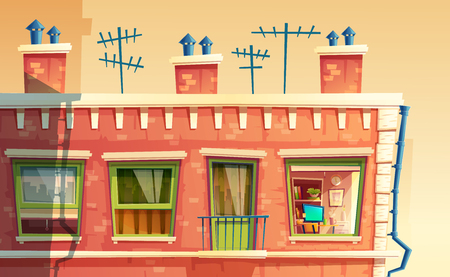 Vector illustration of facade multi-storey apartment, home outside concept, roof of the building with tv antennas. Architecture in cartoon style. Advertising, promotion background.