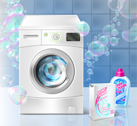Vector realistic promotion banner of liquid detergent for laundry, with washing machine and soap bubbles on blue background. Mockup with plastic bottle and box for brand advertising, promo poster Illustration