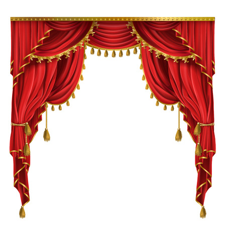 Vector realistic luxury red curtains in victorian style, with drapery, tied with golden cord with tassels isolated on background. Decorative silk cloth with folds for cinema, theater, concert posters