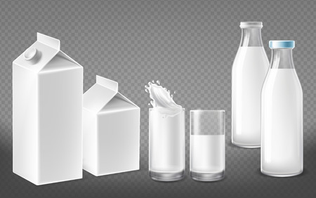 Vector realistic white containers for dairy natural products, milk bottles with lids, filled glasses, cardboard packs for yogurt, kefir or juice, package set isolated on transparent background