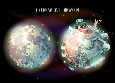 Colonization, exploration and terraforming of Moon, earth satellite, vector concept illustration. Futuristic landscape with two planets, one lifeless, another with astronaut and space base for humans