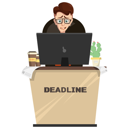 Vector illustration manager, designer, engineer in glasses in workplace with computer, calculations, coffee on table. Employee worried about deadline. Crisis, stress at work, concept in cartoon style.