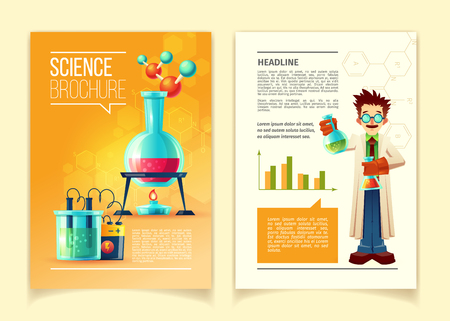 Science brochure vector template, front and back side, educational leaflet with different chemistry equipment, vials, flasks, molecules, chemical formulas and scientist in cartoon style