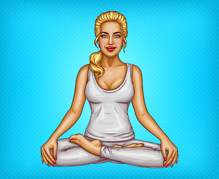 Vector pop art smiling blonde girl doing yoga, sitting in a lotus pose or padmasana, isolated on blue dotted background. Young sexy woman training her body, healthy lifestyle concept illustration Illustration