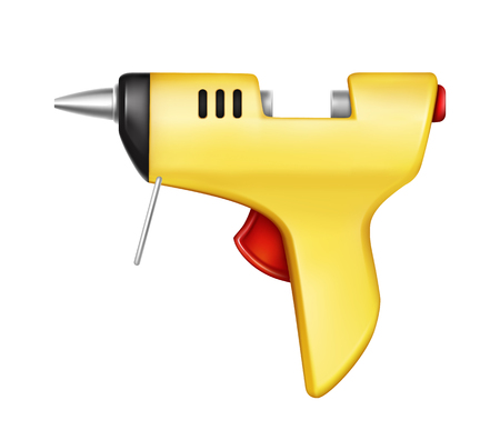 Vector 3d realistic yellow glue gun isolated on white background. Hand tool for gluing, repairing, adhesive fixation. Construction, industry appliance. Pistol with sticky rod for hobby craft, handmade