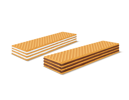Vector set of 3d realistic rectangular crispy wafers with chocolate and milk filling isolated on white background. Waffles filled with vanilla creme, cacao. Confectionery, snack, crunchy dessert.