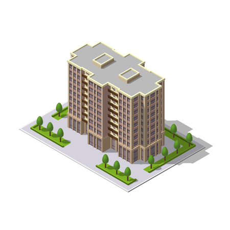 Vector isometric 3D illustration of multi-storey building, tower with parking place, trees. Residence, residential building, urban apartments. Mockup, template for design, architecture, construction.