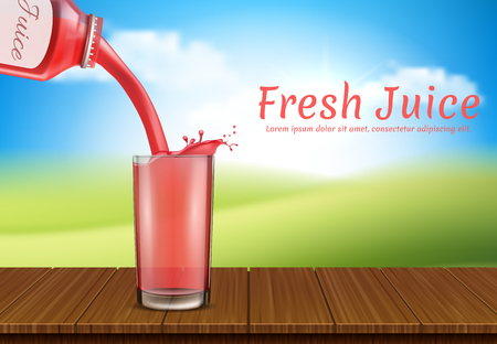 Vector realistic juice pours from bottle to glass. Cup, plastic transparent containers for liquid product. Poster, banner for advertisement, promotion. Package, label design