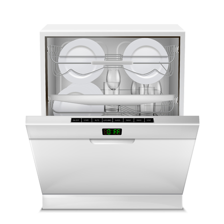 Vector realistic dishwasher machine with digital display, with open door. Illustration