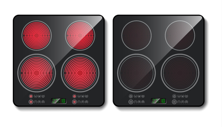 Vector realistic black induction cooktop or glass-ceramic cooking panel, hob with four heating zones, isolated on background. Vettoriali