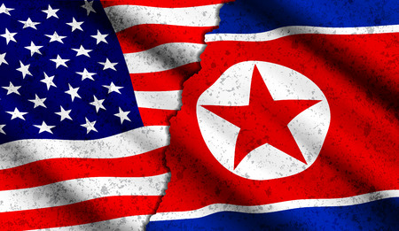 Vector realistic american and north korean waving flags with grunge texture. Confrontation between two countries, threat of nuclear war, rupture of diplomatic relations, politics concept illustration Vectores