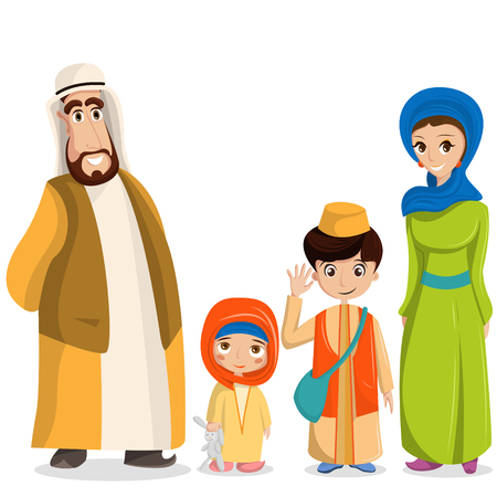 Vector arabic family in national clothes. Parents, children in muslim costumes, islamic clothing.