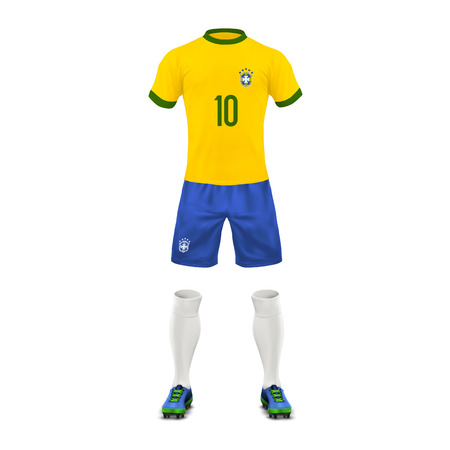 Vector realistic soccer uniform of   Brazil team. Mockup of Brazilian football outfit in colors of national flag, front view