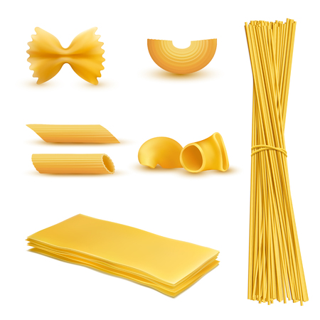 A Vector 3d realistic set of dry macaroni in various shapes, pasta, lasagna, farfalle, spaghetti, rigatoni, penne isolated on background. Traditional italian cuisine, natural food rich in carbohydrates