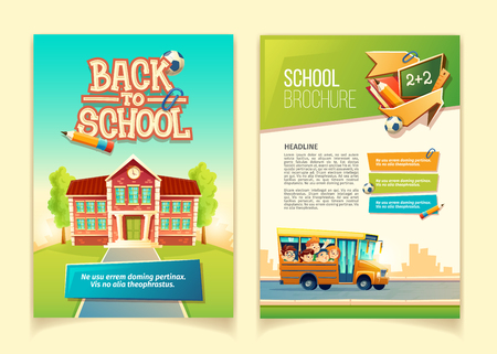 Back to school brochure vector cartoon template, educational leaflet with happy kids, riding on yellow school bus. Colorful cover or page for book, ready flyer for print with info-graphic elements. Ilustração
