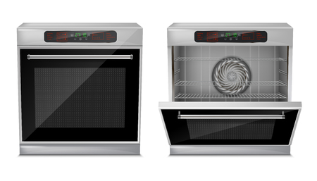 A Vector 3d realistic compact oven with touch menu, with pre-set cooking programs, with open and close door, front view isolated on background. Built-in household appliance, modern multifunction stove