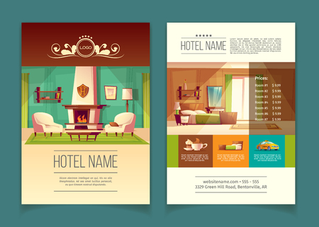 Vector cartoon colorful brochure, advertising leaflet with hotel apartments, rooms with furniture, interior inside. Illustration