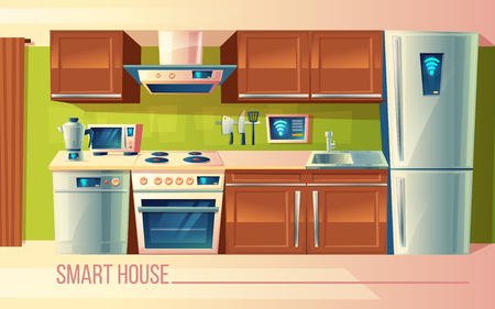 Vector cartoon set of smart house, wireless control of kitchen counter with appliances - washing machine, toaster, fridge, microwave, kettle, blender, stove. Management by smartphone, internet Illustration