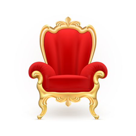 Vector realistic royal throne, luxurious red chair with carved golden legs isolated on background. Иллюстрация