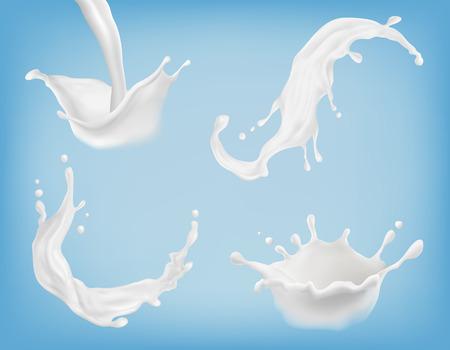 Vector set of realistic milk or yogurt splashes, flowing cream, abstract white blots, milky swirls isolated on blue background. Illustration