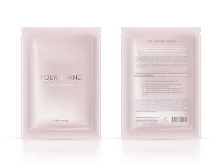 Vector realistic blank package, disposable foil sachet for facial mask or shampoo, isolated on background.