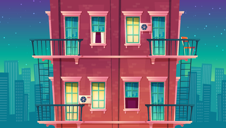 Vector residential multi-storey apartment at night, house outside concept, private building, sleeping quarters, bedroom suburb. Architecture in cartoon style
