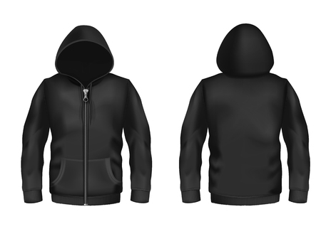Vector realistic black hoodie with zipper, with long sleeves and pockets, casual unisex model, sportswear, sweatshirt with hood isolated on background. Mockup for clothes design, front and rear view Stock Vector - 97307791