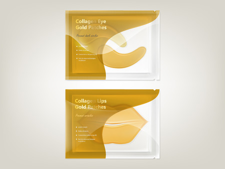 Vector realistic set of patches for lips and eyes with gold and collagen, in disposable sachet isolated on background. Exclusive cosmetic product for skin care and treatment, mockup for package design