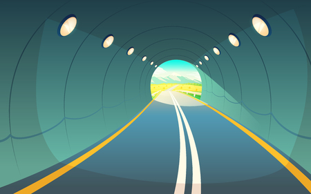 Illustration of a tunnel with a road and lights