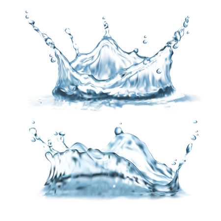 Illustration of two water splashes on a white background