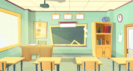 Vector cartoon background with empty school classroom, interior inside. Education concept illustration, college or university training room with furniture, chalkboard, table, projector, desks, chairs Stock Photo