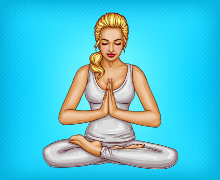 Vector pop art blonde girl sitting with closed eyes in a lotus position or padmasana, isolated on blue background. Young woman practices yoga and meditation, healthy lifestyle concept illustration