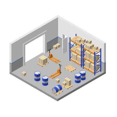 Vector 3d isometric storage, factory warehouse, logistic, delivery storehouse with shelves, boxes, forklifts, barrels, pallets for goods, cargo. Store room structure