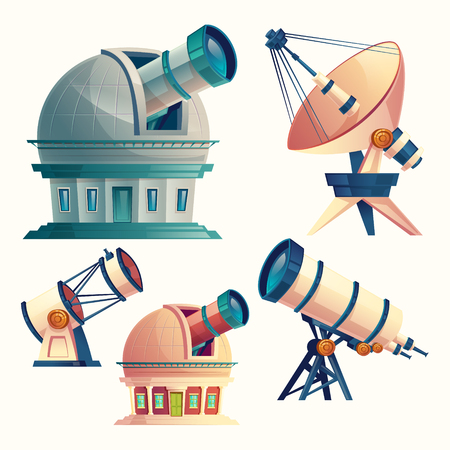 Vector cartoon set with astronomical telescopes, observatories, planetarium, satellite dish. Scientific equipment and optical devices with lenses for observation the sky, stars, cosmos, planets