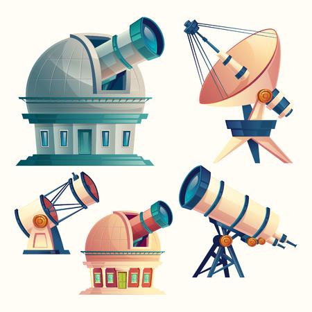 Dibujos animados de vector con telescopios astronómicos, observatorios, planetario, antena parabólica. Equipos científicos y dispositivos ópticos con lentes para la observación del cielo, estrellas, cosmos, planetas.