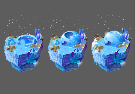 Three flying icy islets with stages of construction isolated on background. Game design concept illustration