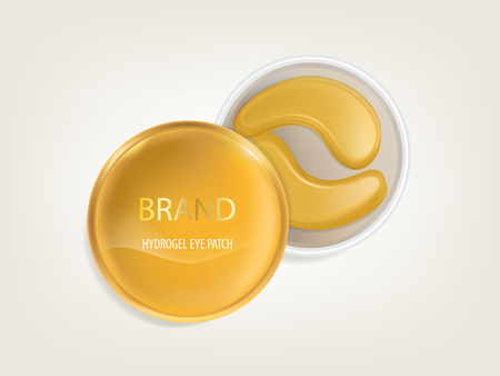 Vector realistic plastic round jar with set of patches for eyes, with gold and hydrogel isolated on background. Exclusive cosmetic product for skin care and treatment, mockup for packaging design