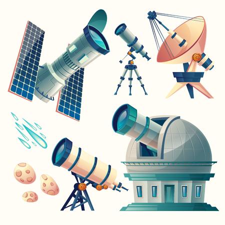 Ensemble d'astronomie de vecteur de dessin animé, télescopes, radio, orbital, planétarium, observatoire, antenne parabolique, antenne. Matériel scientifique pour l'observation des météores, des comètes des étoiles du ciel.