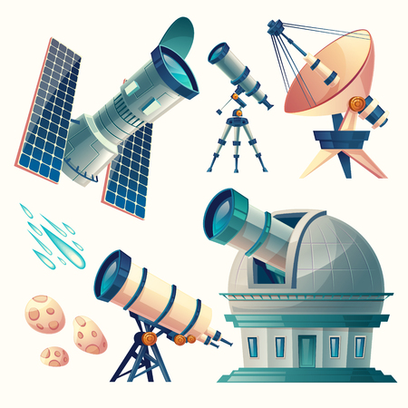 Cartoon vector astronomy set, telescopes, radio, orbital, planetarium, observatory, satellite dish, antenna. Scientific equipment for observation meteors, comets sky stars.